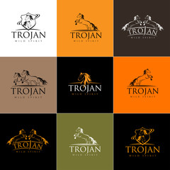 Horse Logo. Vector Horse Icon Badge Emblem