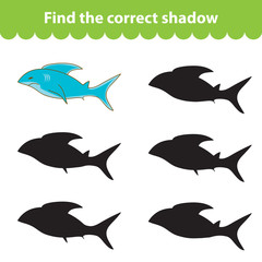 Children's educational game, find correct shadow silhouette. Shark, set the game to find the right shade. Vector illustration