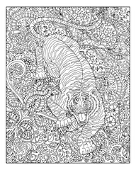 Hand drawn tiger against zen floral pattern background