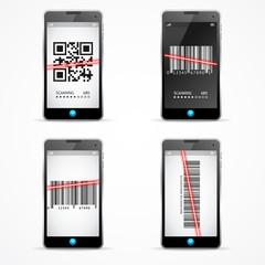 Barcode Scanner Mobile Set. Vector