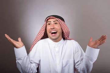 Studio portrait of a happy arabian man