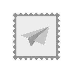 Isolated mail stamp icon with a paper plane