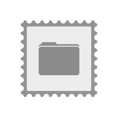 Isolated mail stamp icon with a folder