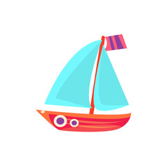 Sailing Toy Boat With Blue Sails