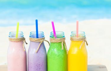 Milkshakes smoothies on the beach.