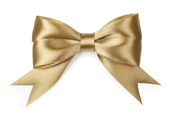 Gold bow isolated on white background