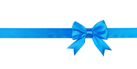 Blue bow and ribbon isolated on white background