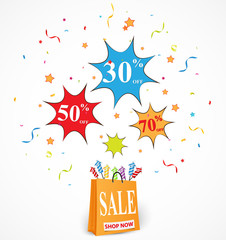 Sale Discount design with shopping bag and confetti