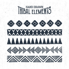Hand drawn tribal ornaments set. Vector illustration.