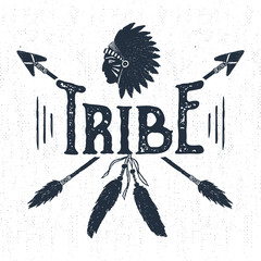 "Hand drawn tribal label with textured headdress and arrows vector illustration and ""Tribe"" lettering."