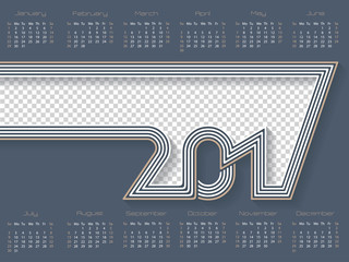 Striped calendar for 2017 with place for photo