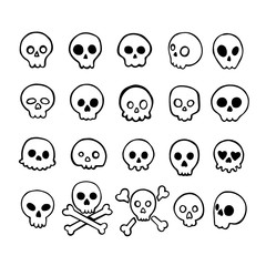 Set of doodle skulls with bones