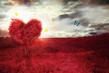 Recess Fitting Magenta Beautiful field with heart shape tree and butterflies. Abstract red landscape background.
