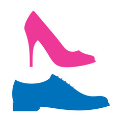 Blue and pink silhouettes of men and women shoes