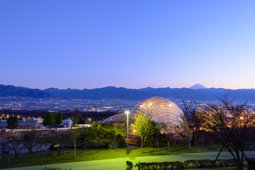 Nightscape of Kofu city, view from Fuefukigawa Fruits Park in Yamanashi, Japan