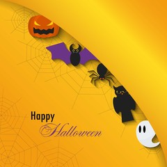 Happy Halloween background.Vector Flat Illustration. Halloween Signs and Symbols. Trick or Treat.