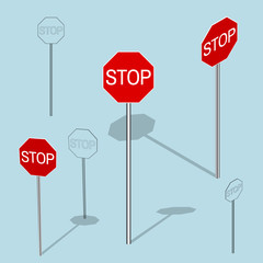 Stop Sign set. 3d Vector colorful illustration.