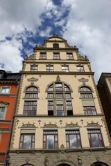 Stockholm: Fassade eines historischen Giebelhauses auf dem Stortorget