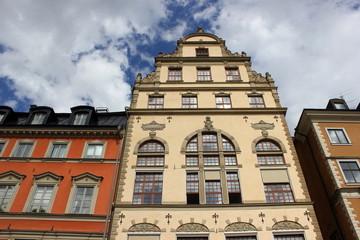 Stortorget: Historisches Giebelhaus in der Altstadt von Stockholm (Schweden)