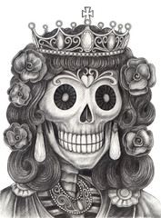 Queen Skull day of the dead.Art design skull head action smiley face day of the dead festival hand pencil drawing on paper.