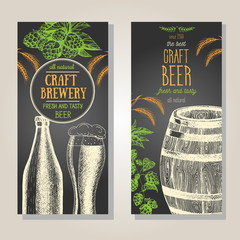 Banner set. Vector illustration in sketch style. Hand drawn beer vertical flyers. Line drawing