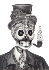 Skull art day of the dead.Art design skull head smoking pipe action smiley face day of the dead festival hand pencil drawing on paper.