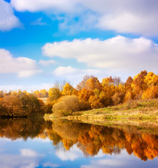 Autumn Landscape. Yellow Trees, Blue Sky and Lake.