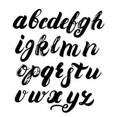 Hand written brush alphabet. Brush written font. ABC painted letters. Modern brushed lettering. Black letters isolated on white background. Brush texture. Vector illustration.