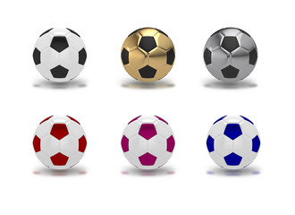 Set of colorful soccer balls isolated on white,3D render