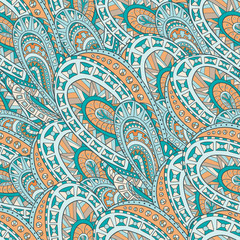 Seamless pattern of hand-drawn and colored abstract elements. Vector graphics . Abstract zentangle seamless .