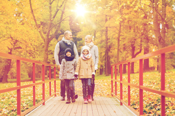happy family in autumn park