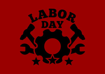 Labor Day logo against the backdrop of the red flag. Labor Day. Workers' Day. Vector illustration