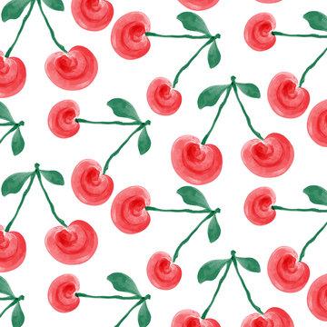 watercolor cherries background