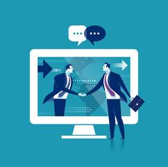 Global Business. The businessmen shaking hands over internet. Business concept illustration.