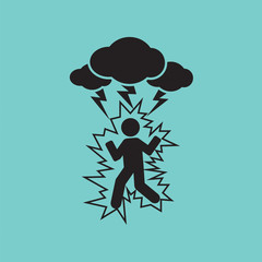 Thunderbolt On A Man Symbol Vector Illustration