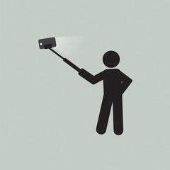 Monopod Selfie Self Portrait Tool For Smartphone Vector Illustration