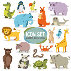 set of funny animals. vector image on white background