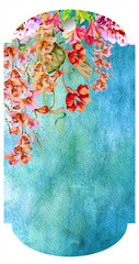 Floral frame Sale ,flowers, numeric. Watercolor price discount poster