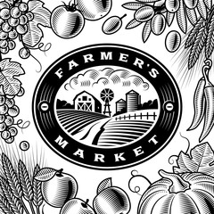 Vintage Farmers Market Label Black And White