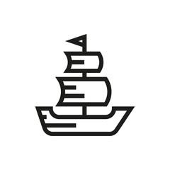 Sailing ship icon on white background