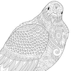Stylized dove or pigeon bird, isolated on white background. Freehand sketch for adult anti stress coloring book page with doodle and zentangle elements.