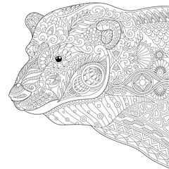 Stylized polar bear, isolated on white background. Freehand sketch for adult anti stress coloring book page with doodle and zentangle elements.