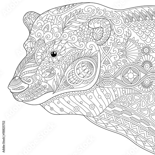 Stylized Polar Bear Isolated On White Background Freehand Sketch For Adult Anti Stress Coloring