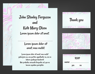 Mint and pink wedding invitation set