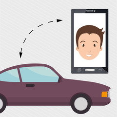 man smartphone car web vector illustration design