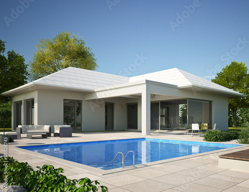Bungalow Mit Pool Am Tag