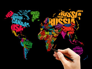 Tuinposter Art Studio World Map in Typography word cloud concept, names of countries
