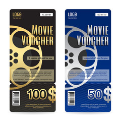 Elegant gift voucher or gift card in black and blue tone with movie and film theme