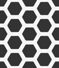 Dark grey hexagons in white ceramic frame. Seamless vector texture. Technology seamless pattern. Vector geometric dark background.