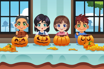 Kids Carving Pumpkin